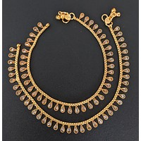 Tear drop stone gold plated Anklet