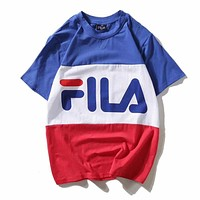 FILA Casual Fashion Print Short Sleeve Tunic Shirt Top Blouse