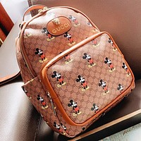 GUCCI & Disney New fashion more letter mouse print leather handbag book bag backpack bag handbag
