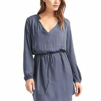 Silky split-neck dress | Gap