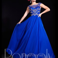 Capped Sleeve Beaded Accent Prom Dress By Panoply 14675