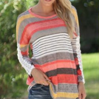 Casual Striped Color Block Long Sleeve Sweat Shirt