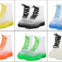 New Transparent Womens Rain boots Colorful Crystal Clear Low Heels Water Shoes Female Retro Martin Rain Boots
