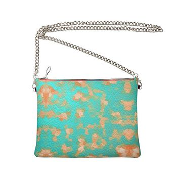 Aqua & Gold Modern Artistic Digital Pattern Crossbody Bag With Chainby The Photo Access