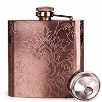 Etched Floral Rose Gold Flask