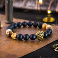 Matte black onyx & brown jasper stone beaded stretchy bracelet with gold Lion, made to order bracelet, mens bracelet, womens bracelet