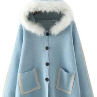 Blue Faux Fur Hood Button Fly Coat