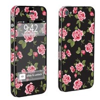 Amazon.com: Apple iPhone 4 or 4s Full Body Decal Vinyl Skin - Black Rose Garden By SkinGuardz: Cell Phones & Accessories