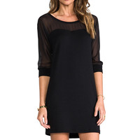 Splendid Long Sleeve Mesh Dress in Black