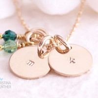 Initial Necklace - Delicate Gold Hand Stamped Necklace - Personalized Jewelry - Christina Guenther