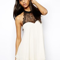 Lipsy Sweetheart Swing Dress with Lace Top - Black/cream