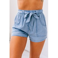 Throughout The Years High Waisted Shorts (Denim Blue)