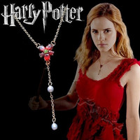 Harry Potter Hermione Granger Horcrux Red Rhinestone Pendant Necklace