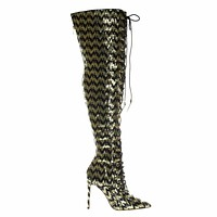 Ecstasyh Military Combat Corset Lace Up Mesh Glitter Over Knee, High Heel Dress Boot