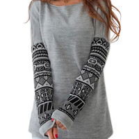 Gray Long Sleeve Print Sweatshirts