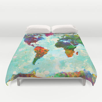 Abstract World Map Duvet Cover by Gary Grayson   Society6