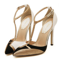 Rhinestone Chromatic Color Pointed High Heel Shoes Sandals  white  35