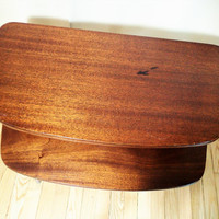 Danish Modern wood table, side table, end table, occasional table, 2 tier Mid Century