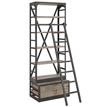 Velocity Industrial Modern Wood Bookshelf