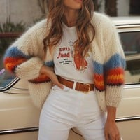 New loose casual solid color stitching cardigan sweater long sleeve sweater female