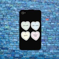 Adorable Candy Heart Quote Cover Cute Phone Case iPhone Cool Black Girly Girl
