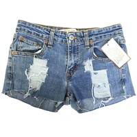 High Waisted Jean Shorts Vintage Levi Shredded Ripped Destroyed Cutoff Shorts