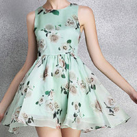 Mint Green Floral Print Sleeveless Pleated Dress