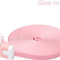 Give me®1PCs Extended Extra Long Noodle Flat USB to 8 Pin Data Sync & Charging Cable Charger Power Cord Wire for iPhone 5 5s 5c iPod Touch Nano 7th Gen (10 FT pink)