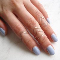 Rose Gold Rings, midi ring set of 7//midi set, Stacking Ring, Band Style, Chevron, v shaped ring, Adjustable,Rose Gold Ring Wire Rings, Gift