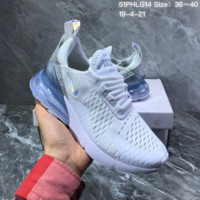 hcxx N1558 Nike Air Max 270 Air-permeable mesh half-palm air-cushioned running shoes White Sliver