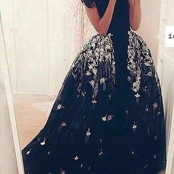 Custom Made Black Prom Dress With Lace Applique Formal Long Evening Dress