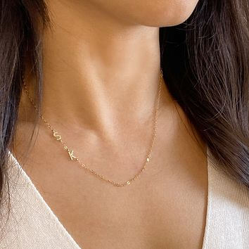 Pave Sideway Initial Necklace