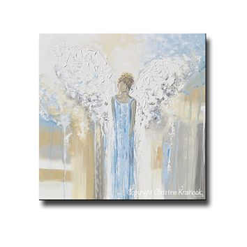GICLEE PRINT Abstract Angel Painting Guardian Angel Fine Art Angel Wings Blue White Grey Gold Home Decor Wall Art