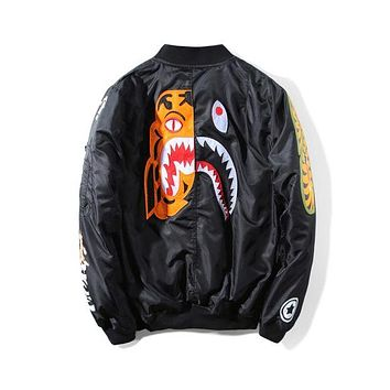 Bape 2018 autumn and winter models tiger shark print embroidery cotton clothes F-A-KSFZ black