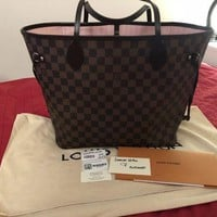 ONETOW Louis Vuitton Neverfull MM DAMIER EBENE ROSE BALLERINE