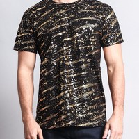 Metallic Paint Long Length T-Shirt