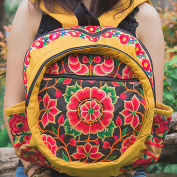 Tribal Backpack with Hmong Embroidered in Yellow