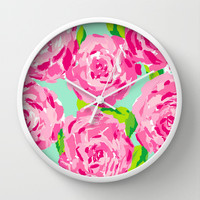 Roses (Lilly Pulitzer style) Wall Clock by uramarinka