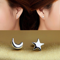 Simple Lovely Couples One Pair Set of Sterling Silver Star and Moon Ear Studs Earrings = 1930073668