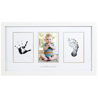Pearhead Baby Prints Photo Frame with Clean-Touch Ink Pad Included, White