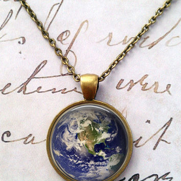 Earth Necklace, Science, Moon, Sun, Stars, Space, Whimsical, Steampunk T1066