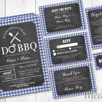 I Do BBQ Wedding Invitations Set Template Blue Check Package Printable Invites Save The Date INSTANT DOWNLOAD Navy Tags Customize Editable