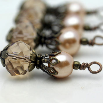 Vintge Style Smokey Topaz Crystal and Golden Pearl Bead Dangle Charm Drop Set