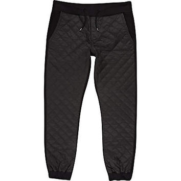 Black coated quilted joggers - joggers - men