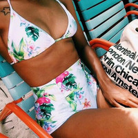 Fashion printing bikinis set sexy women high waist swimwear = 1956978052