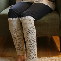 SALE SALE The Lacey Lou-Natural: Open-work Legwarmers w/ ivory knit lace trim & buttons - Leg warmers (item no. 3-14)
