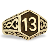 Bronze Luck number 13 1%er Outlaw Biker Ring With Celtic Design