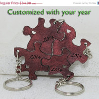 Graduation Set of 4 Leather Key chains You pick the year