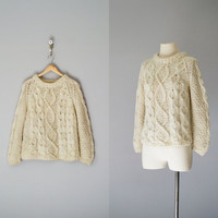70s sweater / 1970s wool fishermans sweater / cream chunky knit