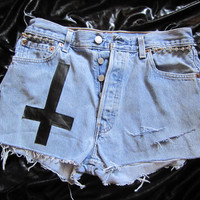 Destroyed Studded Levi's 501 High Waisted by BangYourHeadClothing